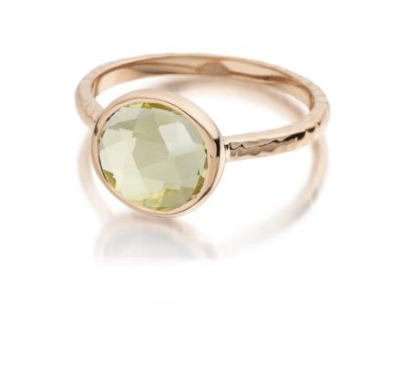 Rose Gold Mini Luna Ring Green Gold Quartz