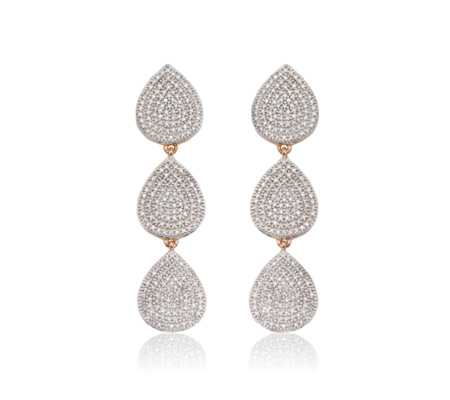 Alma Diamond Cocktail Earrings, Rose Gold Vermeil on Silver