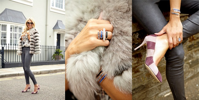 Colourful stacking rings add instant glamour to any denim look.
