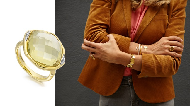 Fiona Rubie pairs Riva Diamonds and a statement cuff with a blazer 'borrowed from the boys' to stay on trend for Autumn.