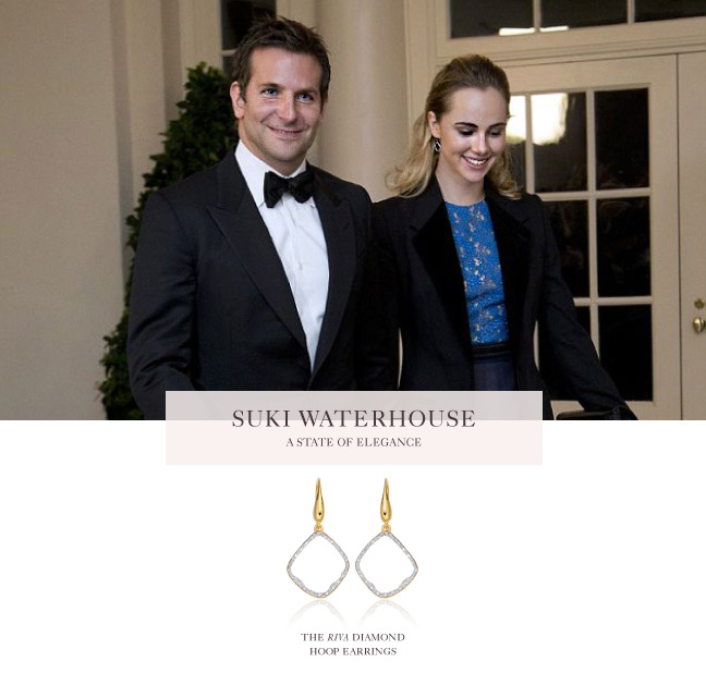 Suki Waterhouse steps out in the Monica Vinader Riva Diamond Hoop Earrings at the White House State Dinner in honour of French President  François Hollande