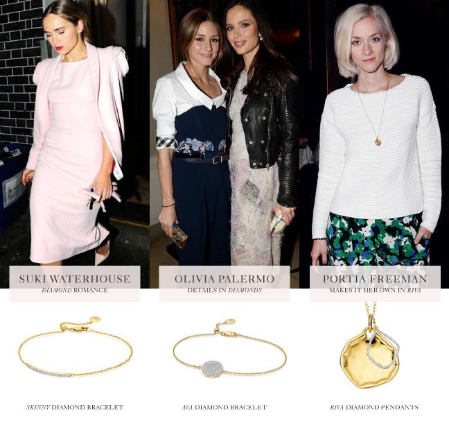 Portia Freeman, Olivia Palermo, and Suki Waterhouse wear Monica Vinader jewellery at London Fashion Week