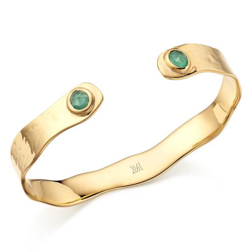 Gold Vermeil Siren Cuff - Green Onyx - Monica Vinader