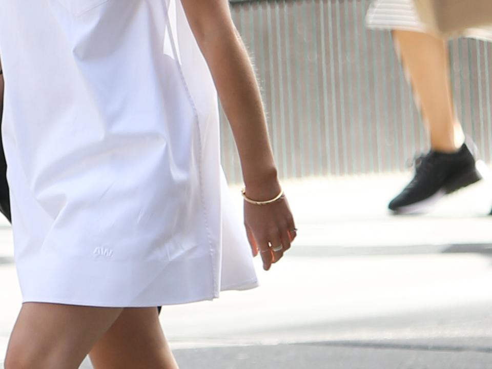 Emma Watson wearing Monica Vinader Signature Bangle