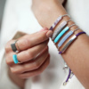 Linear Stone Bracelet - Blue Lace Agate - Monica Vinader