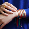 Rose Gold Vermeil Linear Friendship Bracelet - Turquoise Metallica - Monica Vinader