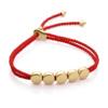 Gold Vermeil Linear Bead Friendship Bracelet - Coral - Monica Vinader