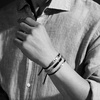 Rose Gold Vermeil Havana Men's Friendship Bracelet - Black - Monica Vinader