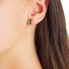 Gold Vermeil Baja Deco Stud Earrings - Green Onyx - Monica Vinader