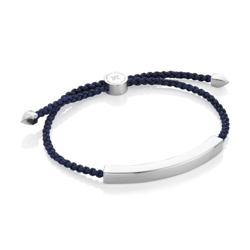 Linear Large Men's Friendship Bracelet - Denim Blue - Monica Vinader
