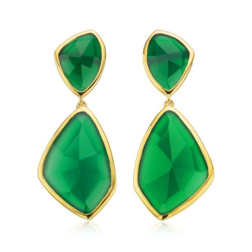 Gold Vermeil Siren Cocktail Earrings - Green Onyx