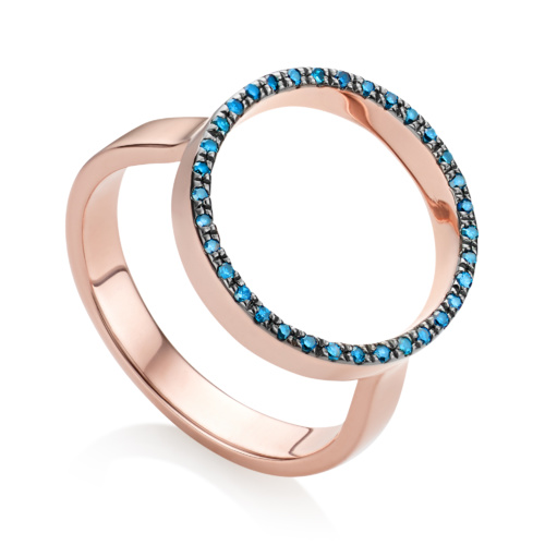 Rose Gold Vermeil Naida Circle Open Ring - Blue Diamond - Monica Vinader