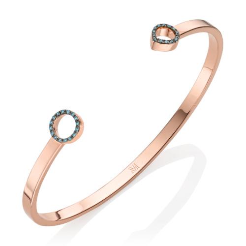 Rose Gold Vermeil Naida Thin Open Cuff - Blue Diamond - Monica Vinader