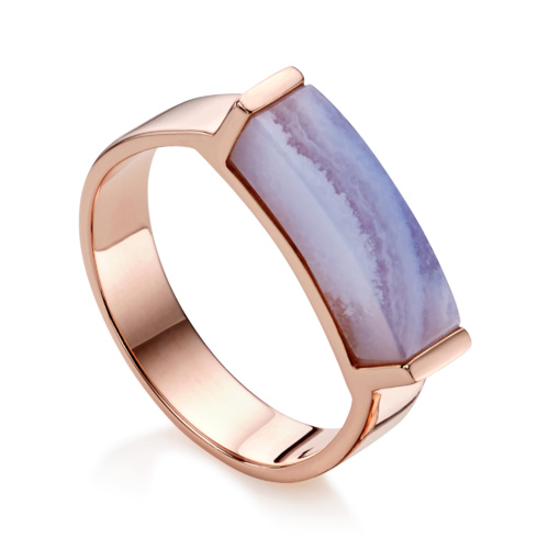 Rose Gold Vermeil Linear Stone Ring - Blue Lace Agate - Monica Vinader
