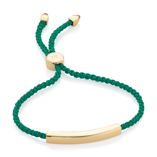 Gold Vermeil Linear Friendship Bracelet - Green Metallica - Monica Vinader