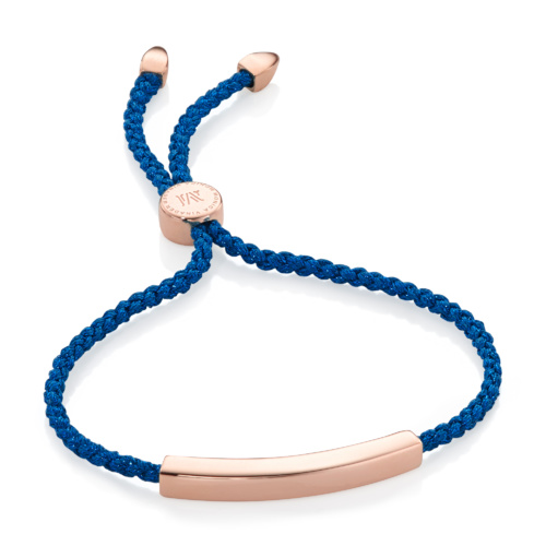 Rose Gold Vermeil Linear Friendship Bracelet - Navy Metallica - Monica Vinader