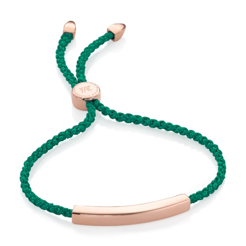 Rose Gold Vermeil Linear Friendship Bracelet - Green Metallica - Monica Vinader