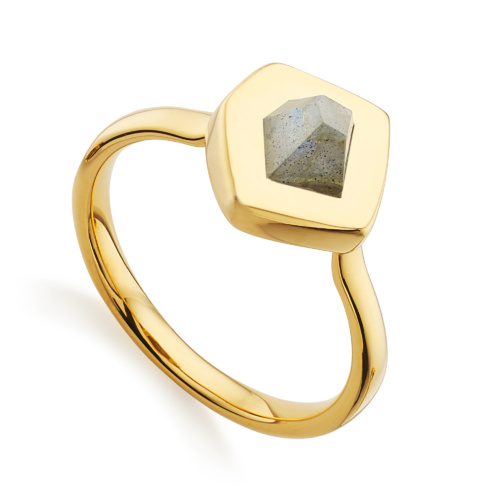 Gold Vermeil Petra Stacking Ring - Labradorite - Monica Vinader