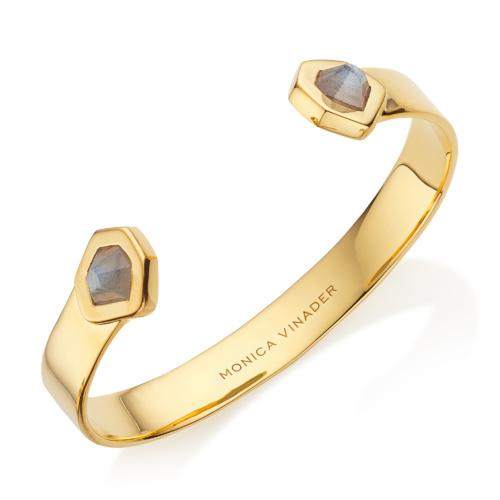 Gold Vermeil Petra Cuff - Labradorite - Monica Vinader