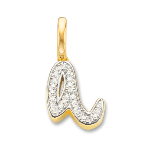 Gold Vermeil Diamond Alphabet Pendant A - Diamond - Monica Vinader
