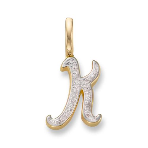 Gold Vermeil Diamond Alphabet Pendant K - Diamond - Monica Vinader