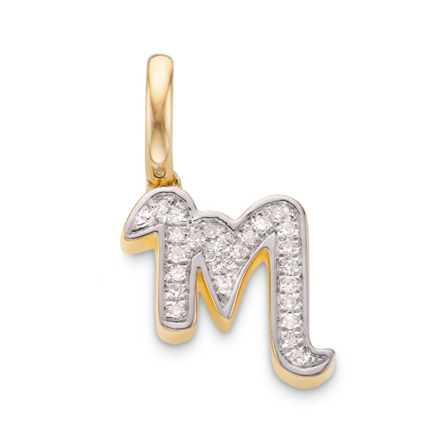 Gold Vermeil Diamond Alphabet Pendant M - Diamond - Monica Vinader