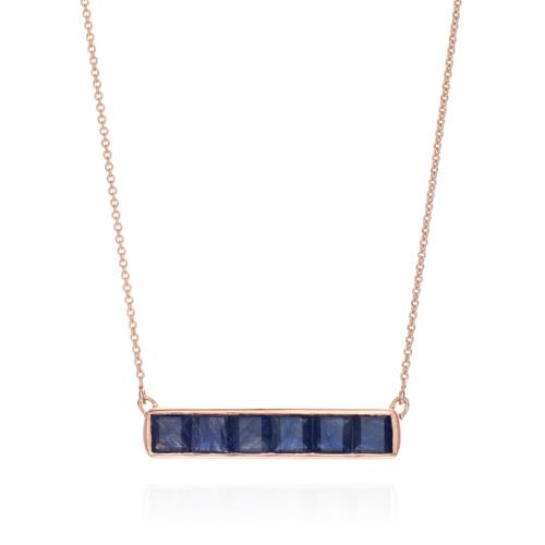 Rose Gold Vermeil Baja Precious Necklace - Blue Sapphire