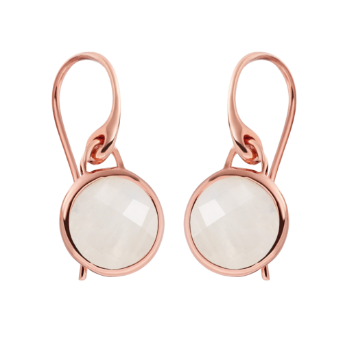 Rose Gold Vermeil Mini Luna Earrings - Moonstone - Monica Vinader