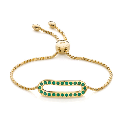 Gold Vermeil Pop Bracelet - Green Onyx - Monica Vinader