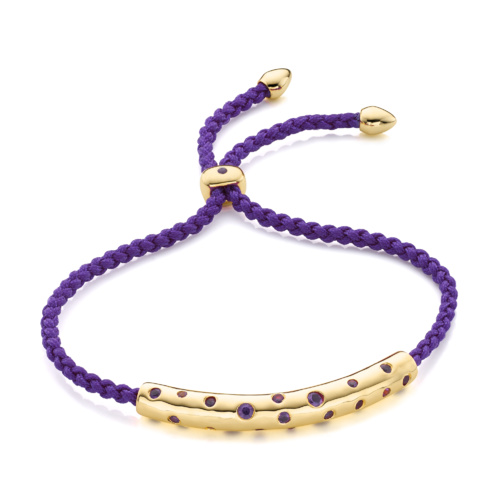 Gold Vermeil Esencia Scatter Friendship Bracelet - Plum - Monica Vinader