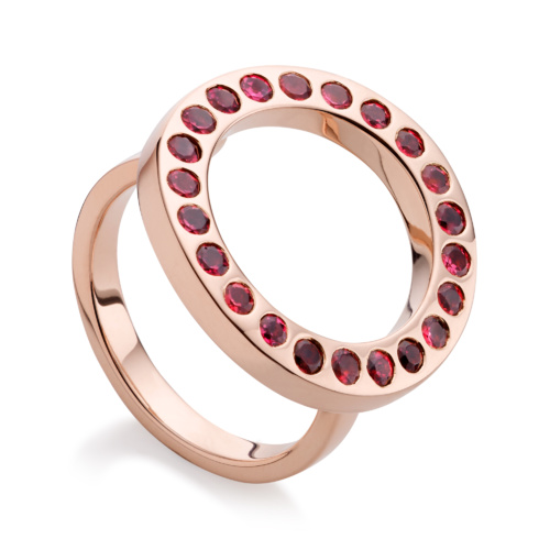 Rose Gold Vermeil Pop Circle Ring - Hyderabadi Garnet - Monica Vinader
