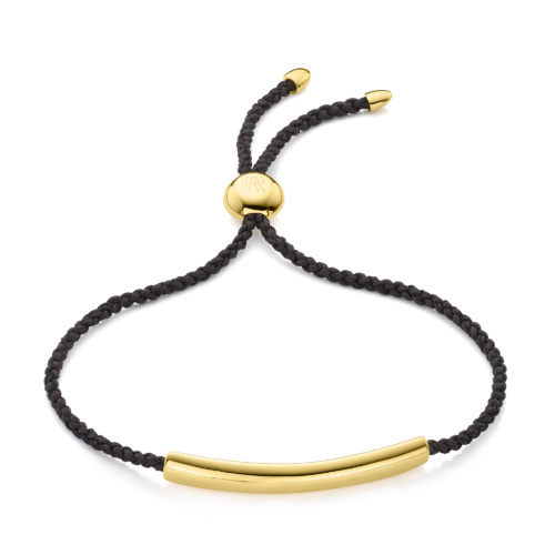 Gold Vermeil Esencia Fine Corded Friendship Bracelet - Black - Monica Vinader
