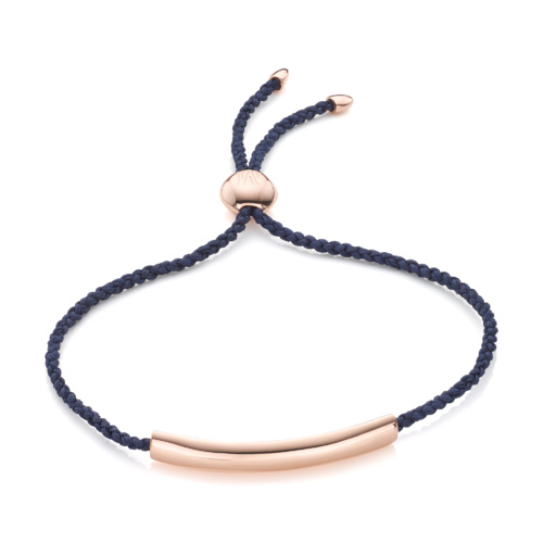 Rose Gold Vermeil Esencia Fine Corded Friendship Bracelet - Blue - Monica Vinader