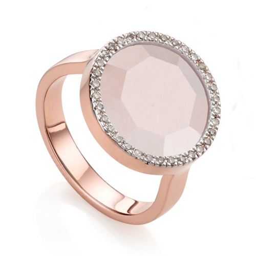 Rose Gold Vermeil Naida Circle Ring - Rose Quartz - Monica Vinader