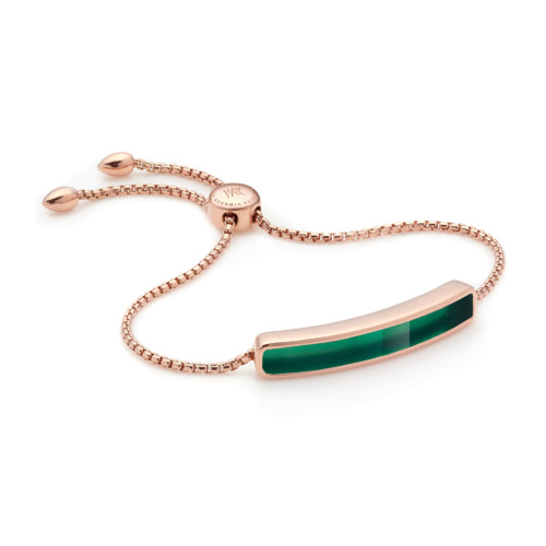 Rose Gold Vermeil Baja Bracelet - Green Onyx - Monica Vinader