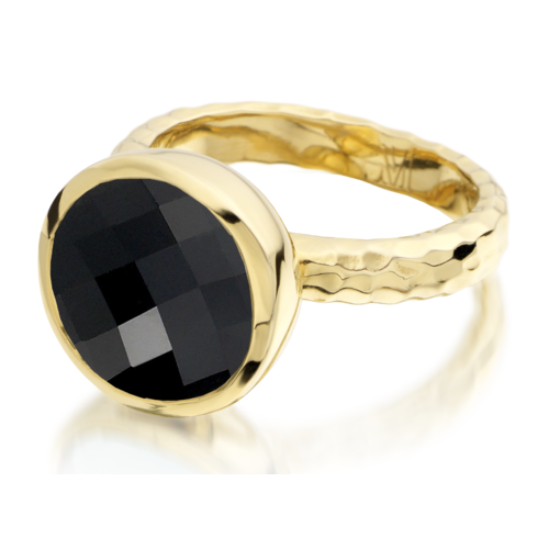 Gold Vermeil Medina Facet Ring - Black Onyx - Monica Vinader