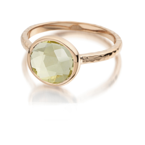 Rose Gold Vermeil Mini Luna Ring - Green Gold Quartz - Monica Vinader
