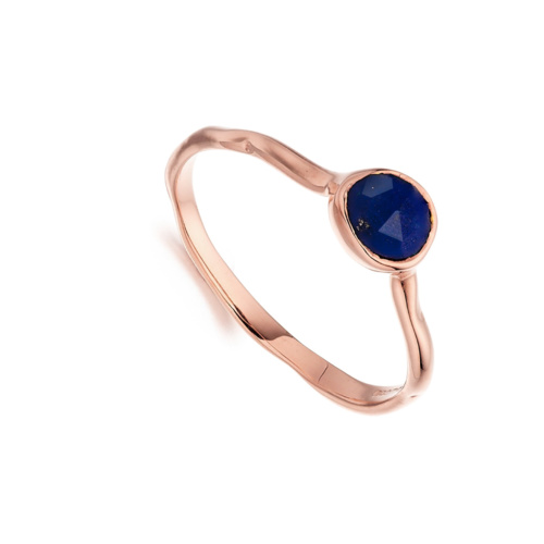 Rose Gold Vermeil Siren Small Stacking Ring - Lapis - Monica Vinader