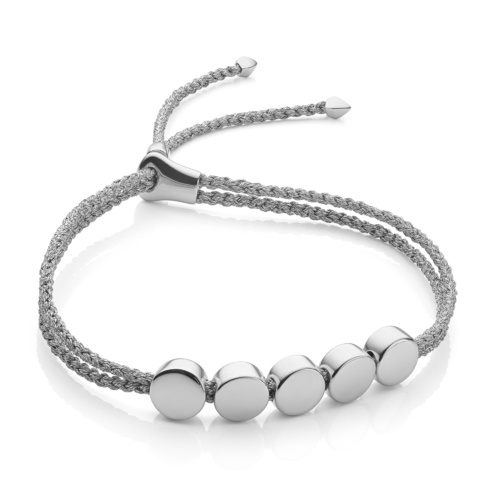 Linear Bead Friendship Bracelet - Silver Metallica - Monica Vinader