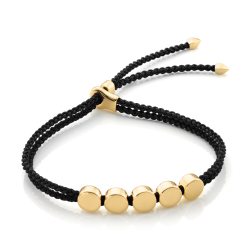 Gold Vermeil Linear Bead Friendship Bracelet - Black - Monica Vinader