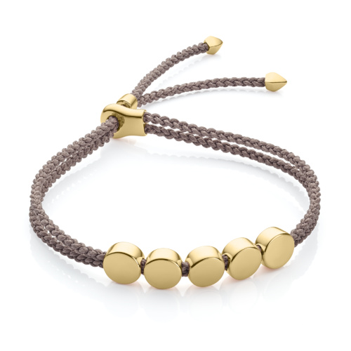 Gold Vermeil Linear Bead Friendship Bracelet - Mink - Monica Vinader