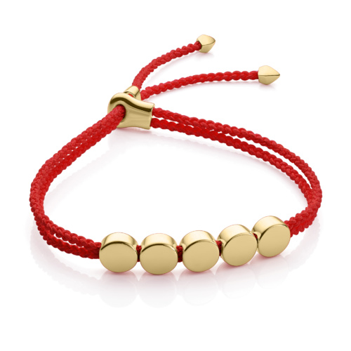 Gold Vermeil Linear Bead Friendship Bracelet - Coral - Monica Vinader