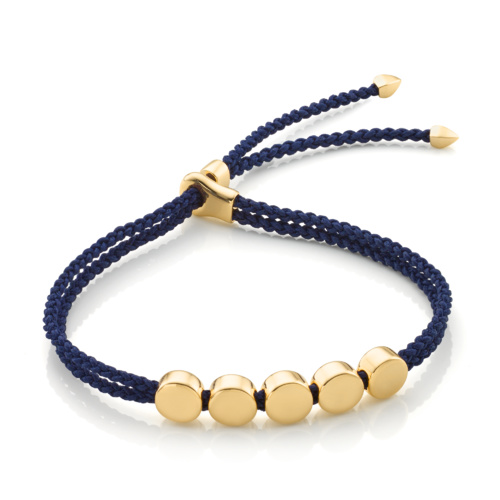 Gold Vermeil Linear Bead Friendship Bracelet - Navy Blue - Monica Vinader