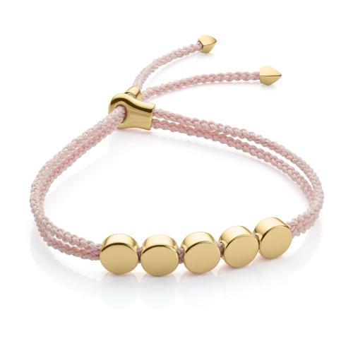 Gold Vermeil Linear Bead Friendship Bracelet - Ballet Pink - Monica Vinader