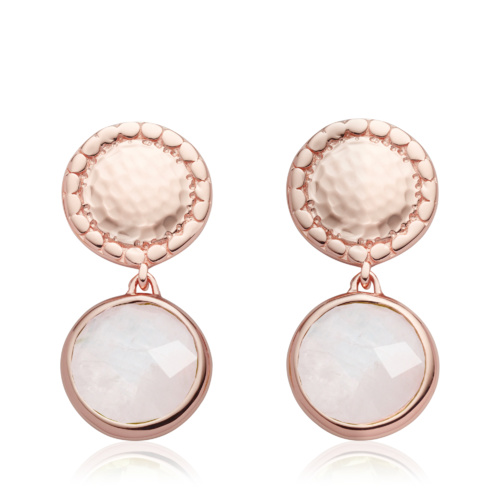 Rose Gold Vermeil Mini Luna Stud Earring - Moonstone - Monica Vinader