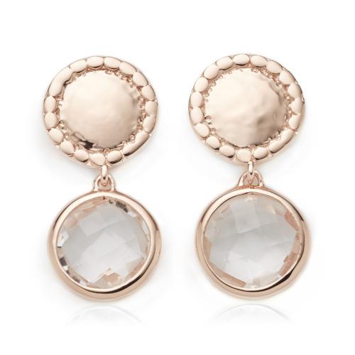 Rose Gold Vermeil Mini Luna Stud Earring - Rock Crystal - Monica Vinader
