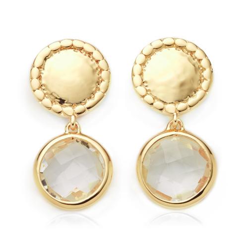 Gold Vermeil Mini Luna Stud Earring - Rock Crystal - Monica Vinader