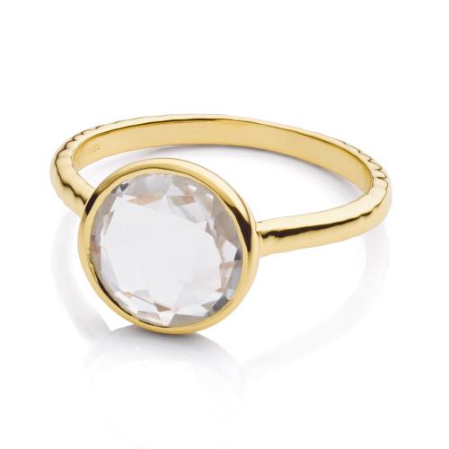 Gold Vermeil Mini Luna Ring - Rock Crystal - Monica Vinader