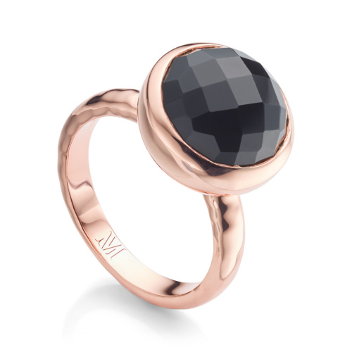 Rose Gold Vermeil Medina Facet Ring - Black Onyx - Monica Vinader