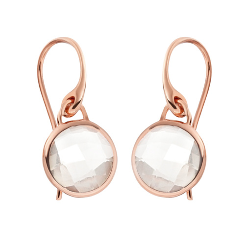 Rose Gold Vermeil Mini Luna Earrings - Rock Crystal - Monica Vinader